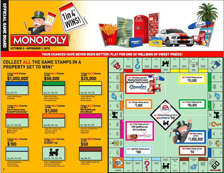 McDonalds Monopoly Game Board